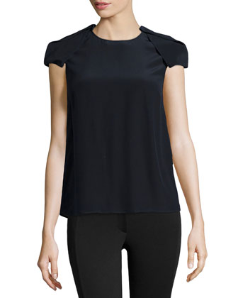 Short-Sleeve Silk Top
