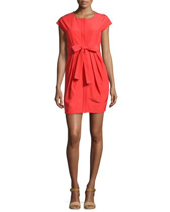 Pleated-Front Tie-Waist Dress, Red