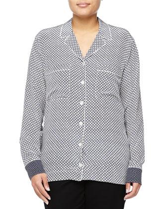 Quatrefoil-Print Button-Down Shirt, Blue