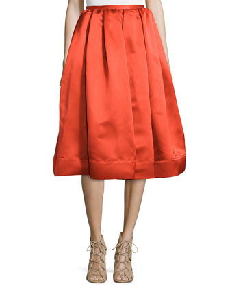 Box-Pleated Satin Skirt, Red