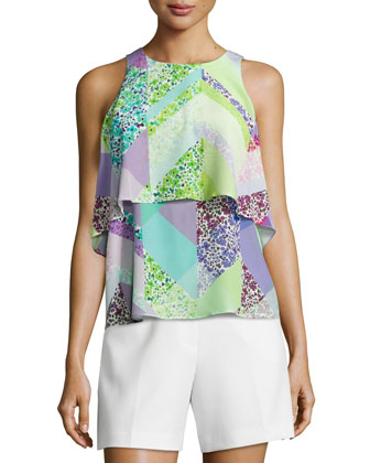 Rida Floral-Geometric Popover Top