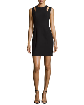 Davani Cutout-Shoulder Dress, Black