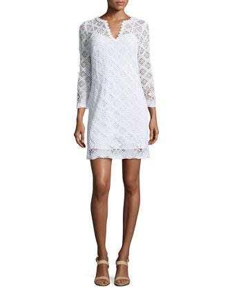 Clair V-Neck Crochet Cotton Dress