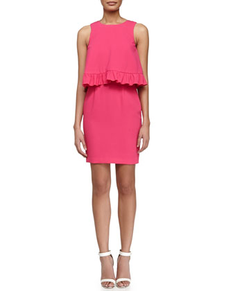 Kayleen Ruffled Combo Dress, Vivid Pink