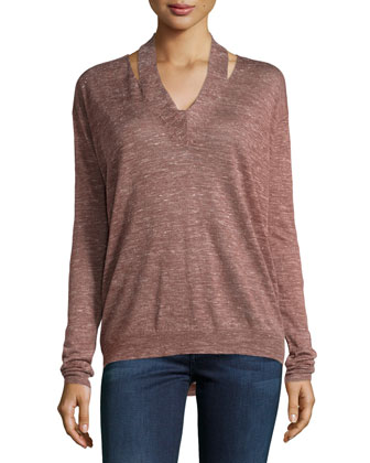 Heathered Silk-Blend V-Neck Pullover, Burgundy