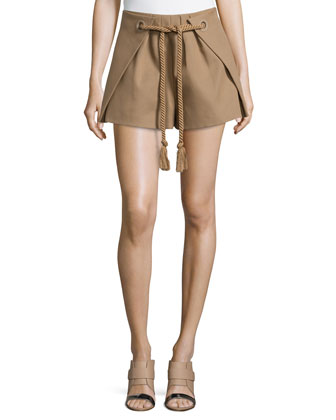 Cotton Twill Shorts with Drawcord