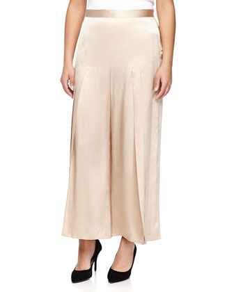 Silk Pleated Wide-Leg Pants, Nude
