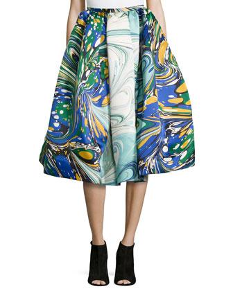 Marble-Print Pleated Satin Skirt, Multi