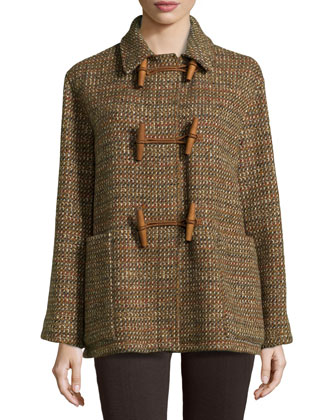 Tweed Toggle-Front Sweater Jacket, Multi