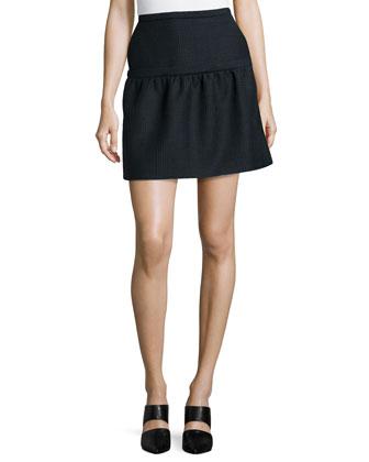 Glen Plaid Overlay Skirt, Blue