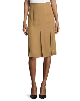Knee-Length Woven Pleated Skirt