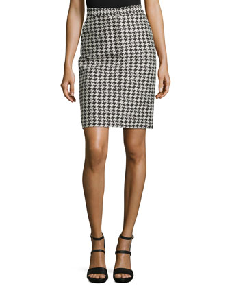 Houndstooth Stretch-Knit Pencil Skirt