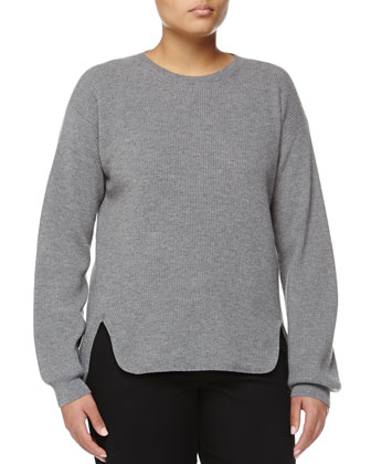 Cashmere-Blend High-Low Pullover, Gray
