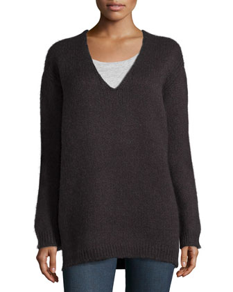V-Neck Alpaca Knit Pullover, Charcoal
