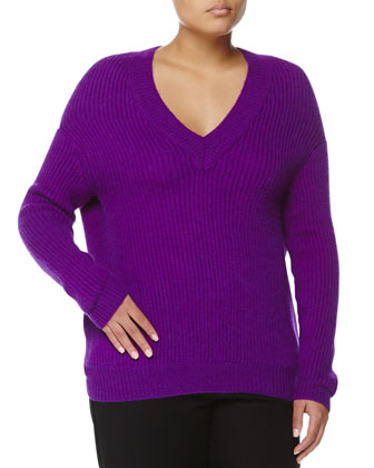 Cashmere-Blend V-Neck Sweater, Purple