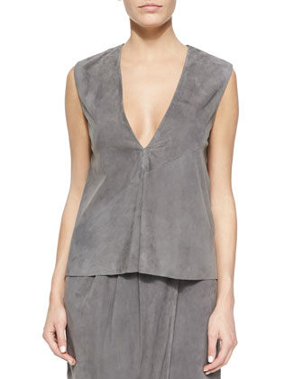 Sleeveless Featherweight Suede Top