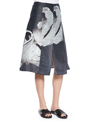 Satin Poplin Sculpted Tunic Top & Printed Linen/Silk A-Line Skirt