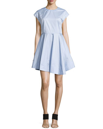Cap-Sleeve Satin Poplin Dress