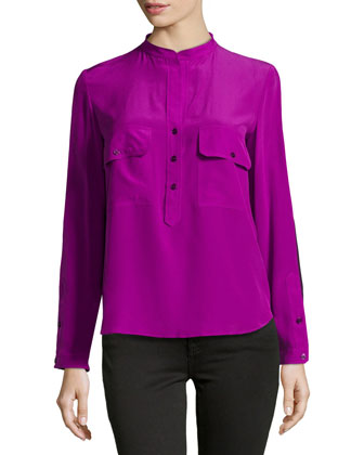 Long-Sleeve Silk Contrast Blouse, Purple