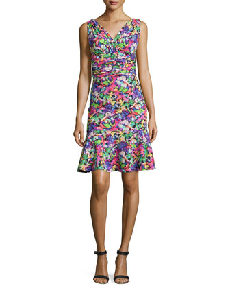 Belfiore Sleeveless Floral Cocktail Dress, Mariposa