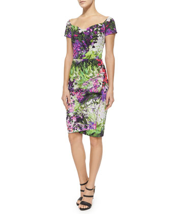 Claretta Floral-Print Short Sleeve Ruched Dress