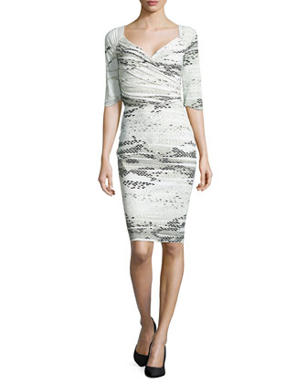 Lexis Lizard-Print Stretch Dress, White