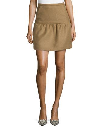 Camel-Hair Wool Overlay Skirt