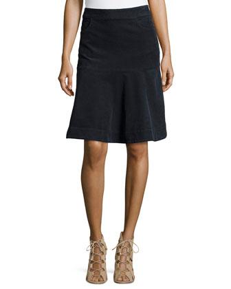 Stretch Knee-Length Flared Skirt