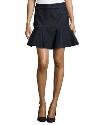 Stretch-Denim A-Line Skirt