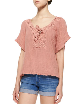 Hot Sauce Lace-Trim Top