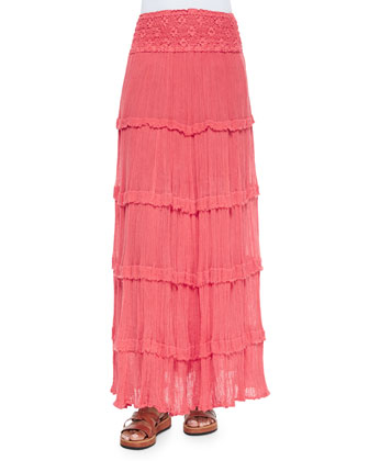 Lace-Waist Tiered Maxi Skirt