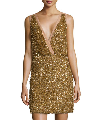 Sleeveless Sequined-Front Dress