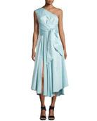 Satin Poplin One-Shoulder Wrap Dress