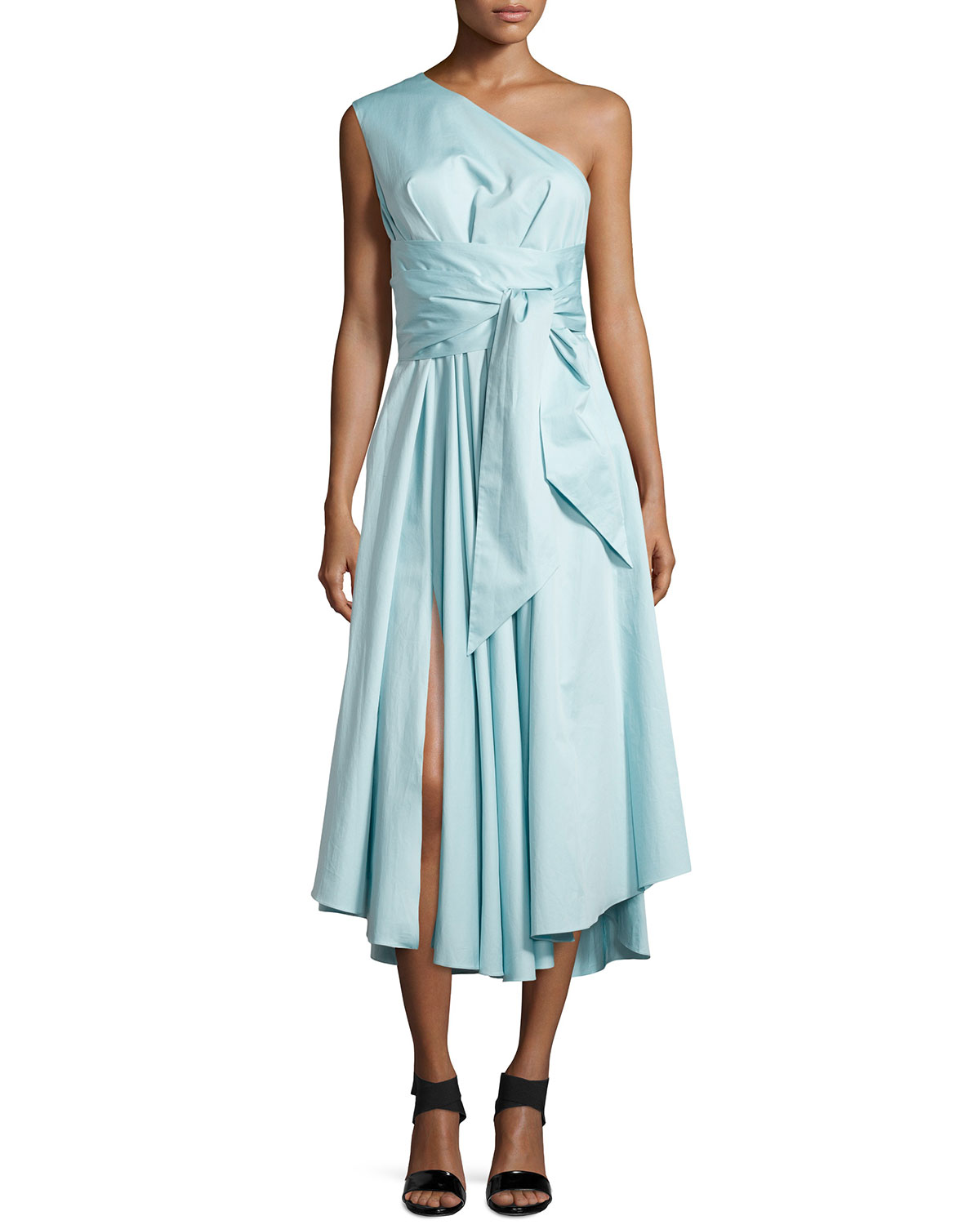 Satin Poplin One-Shoulder Wrap Dress, Size: 0, MIZU BLUE - Tibi