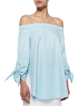 Off -The-Shoulder Cotton Poplin Tunic