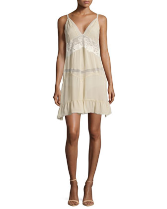 Silk-Blend Slip Dress with Ruffle