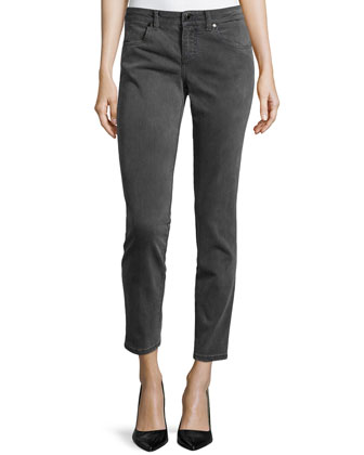 Skinny Ankle Grazer Denim Jeans, Gray