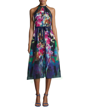 Tea-Length Floral-Print Dress