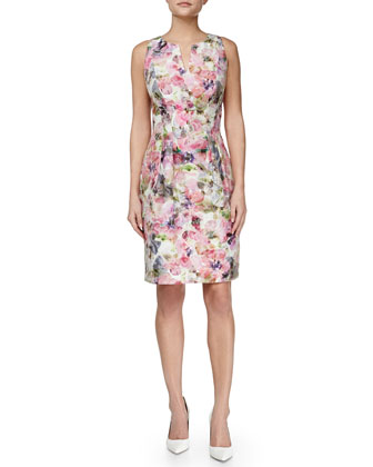 Floral-Print Sheath Dress, Pink Multi