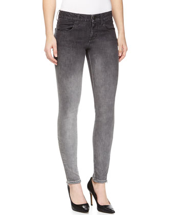 Ombre Denim Skinny Jeans, Gray