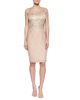 Lace-Bodice Tweed Sheath Dress