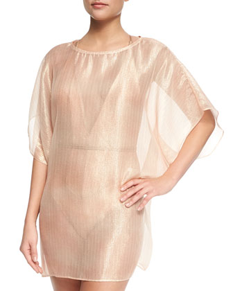 Angel Sheer Metallic Tulle Coverup