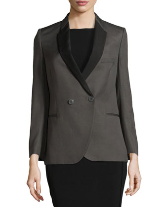 Long-Sleeve Double-Breasted Blazer