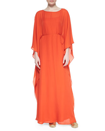 Kelby Silk Georgette Caftan, Orange