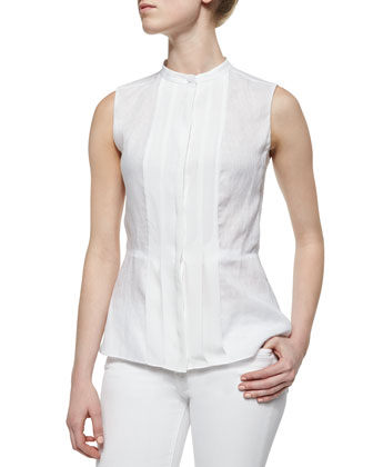 Sleeveless Pleated-Front Shell