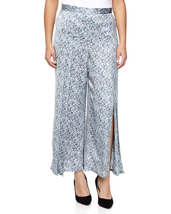 Silk Pleated Wide-Leg Pants, Blue