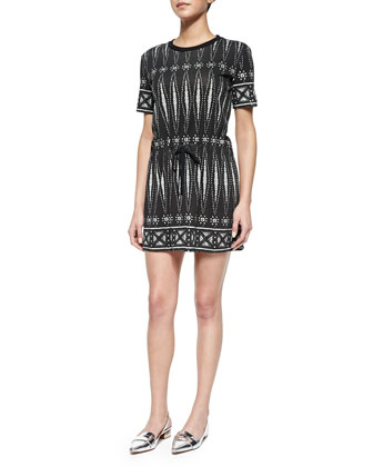 Graphic-Print T-Shirt Sheath Dress, Black/White