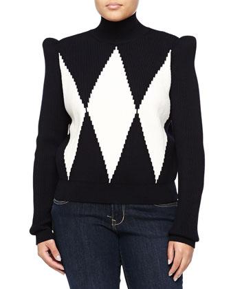 Pullover Geometric Turtleneck, Black/White