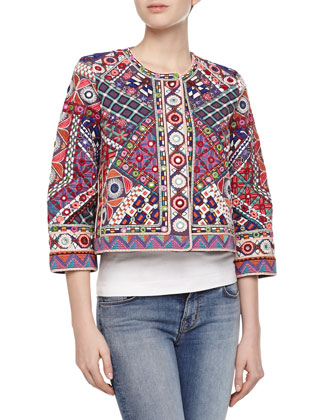 Linda Multicolor Embroidered Cropped Jacket
