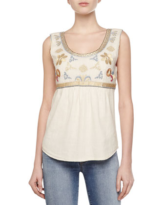 Metallic Embroidered Sleeveless Voile Top